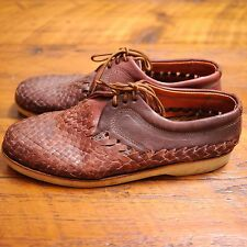 Vintage Huarache Crepe Sole Brown Woven Leather Beach Boat Shoes Oxfords 8 41