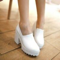 Occident Women's Slip-On Chunky High Heel Platform Pumps Round Toe Casual Shoes-