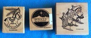 3 Cynthia Hart Christmas Stamp - Rocking Horse, Eastern Star, Three Kings  NOS
