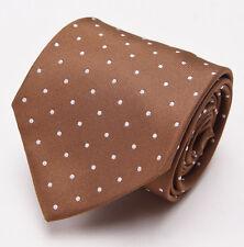 NWT $225 BORRELLI NAPOLI Caramel Brown-White Woven Dot Pattern Silk Tie Handmade