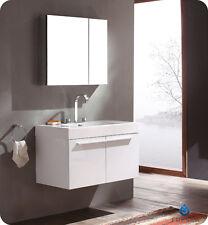 "Fresca Vista 36"" White Modern Bathroom Vanity w/ Medicine Cabinet and Faucet"