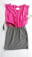 NWT Womens Pink & Black Sleeveless Belted Dress Size XS Accidentally In Love