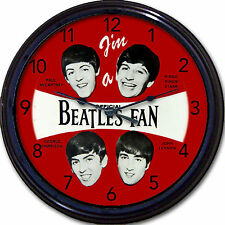 The Beatles I'm a Beatles Fan Wall Clock McCartney Lennon Ringo Harrison 10""