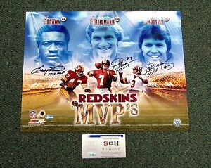Redskins MVP's Signed Autograph 16x20 Photo Joe Theismann L. Brown Moseley - SCH