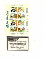 CANADA DISNEY WINNIE THE POOH BOOKLET OF TWO PANES and a sheet with coa (orange