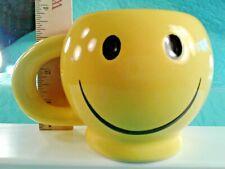 "SUPER COOL  Bright Yellow Smiley Face Mug 3.5"" Tall"