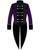 Men's Gothic Tailcoat Jacket Purple Steampunk VTG Victorian