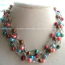 "5strands freshwater pearl multicolor unique baroque necklace 17"" for woman gift"