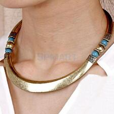 WOMEN CHUNKY VINTAGE METALLIC CURVED CHOKER COLLAR BIB NECKLACE TORQUE PUNK ROCK