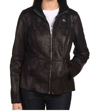 Donna Karan DKNY Jeans Missy Black Faux Shearling Bomber Full Zip Jacket Coat L