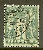 "FRANCE STAMP TIMBRE N° 61 "" TYPE SAGE 1c VERT "" OBLITERE TB"