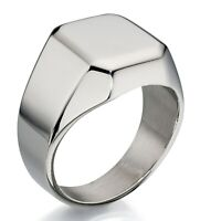 Fred Bennett Polished Stainless Steel Men's Contemporary Square Edge Signet Ring