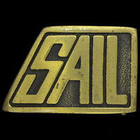 Boat Sail Sailboat Sailing Yacht Coastal Nautical Brass 70s Vintage Belt Buckle