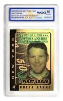 BRETT FAVRE 2008 Laser Line Gold Card - Graded GEM MINT 10 - New York Jets