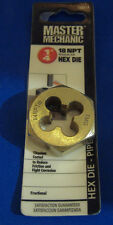 "NEW 1/4"" - 18 NPT MASTER MECHANIC TITANIUM HEX DIE PIPE THREAD HD 1 1/2 O.D."