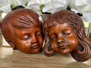 Achatit Vintage Retro Girl & Boy Wooden Faces Germany Handcraft