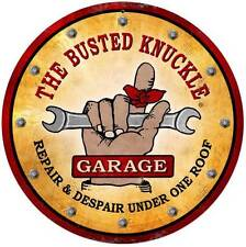 Busted Knuckle Garage Mechanic Repair Retro Metal Sign Man Cave Shop Club Bus040