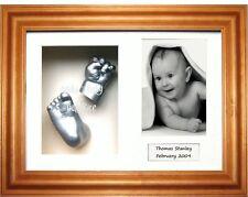Kit bébé 3D Moulage Main Pied silver jette cadre en pin miel nouveaux grands-parents Cadeau