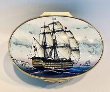 Halcyon Days English Enamel The Victory Flag Ship Large Trinket Box