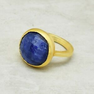 Blue Sapphire ring, Gemstone ring, Brass ring, Round ring, Gold plated ring