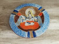 Cool Vintage Porcelain Hand Painted Buddha Ashtray Japan Ceramic Tobacco