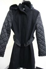 Kenneth Cole Wool Blend Black Hooded Trench Coat Buttoned & Zippered Size - 12R