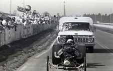 Front Engine Dragster Pushed by Ford Truck - Vintage 35mm Drag Racing Negative