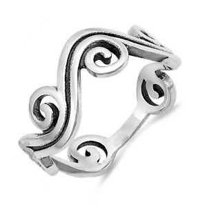 Swirl Wave Filigree Oxidized Sterling Silver Band Ring
