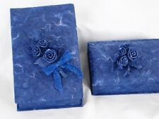 Lot of 2 - Blue Gift Boxes Lids Handmade Decor Trinkets