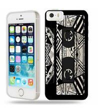 Coque Iphone 5 5S SE cassette K7 tape geometrique noir transparente