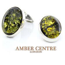 Baltica Verde Ambra orecchini a Clip Argento 925 Artigianale - CL018