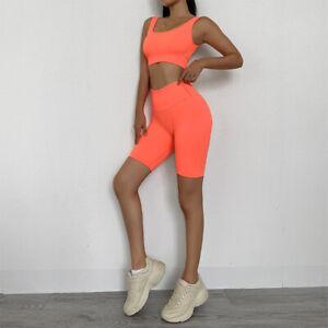 Womens 2Pcs Yoga Suit Seamless Pants Leggings Shorts+Top Bra Sports Gym Outfit