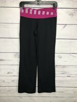 Women's Lululemon Groove Yoga Work Out Fitness Pants Size 6 Boot Cut Black Pink