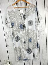 46 48 - luftiges Long Shirt Bluse Sommer Tunika Kurzarm gemustert weiß blau