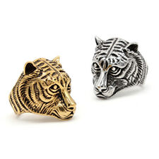 Silver Gold Tiger Ring Stainless Steel Gothic Tiger King Biker Punk Ring for Men