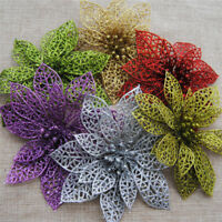 10Pcs Christmas Glitter Hollow Flowers Xmas Tree Hanging Wedding Party Decor
