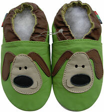 shoeszoo green puppy 0-6m S soft sole leather baby shoes