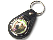 GOLDEN RETRIEVER Dog Puppy Quality Leather and Chrome Keyring