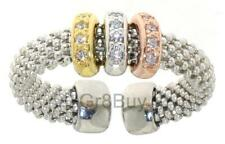 RING: 925 RHODIUM MESH EXPANDABLE WITH 3 COLOUR CZ DIAM BAND SUITS SIZE 4 - 9