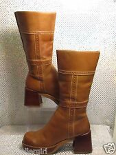 SKETCHERS BROWN TAN LEATHER DISTRESSED THICK HEEL MIDCALF FASHION BOOTS SZ 8