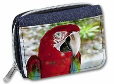 Green Winged Red Macaw Parrot Girls/Ladies Denim Purse Wallet Christm, AB-PA11JW