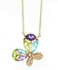 "14KT Rose Gold Lady's Diamond and Gemstone Pendant Necklace, 16"""