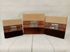 Storage Boxes Set Nest Three Boaters Brown Beige Elastic Fasteners Stacking Gift