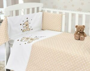 Time to Sleep Teddy Cotton Nursery Bedding 2pce Quilt + Bumper Bale Set CotBed