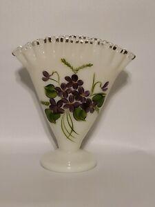 """VTG Fenton Art Glass White Milk Glass Silver Crest Fan Vase 6.5"""" Hand Painted"""