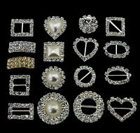 10 CIRCLE/ HEART/ SQUARE DIAMANTE RHINESTONE CRYSTAL BUCKLE RIBBON SLIDERS DECOR
