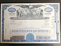 PAN AMERICAN WORLD AIRWAYS 1,000 SHARES CERTIFICATE