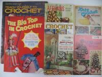 Lot (7) Vintage Crochet Knit Magazines Instructions Designs Afghans Crafts