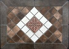 "21 1/2"" X 15 5/8"" Tile Medallion - Daltile Cotto Contempo - metal accent"
