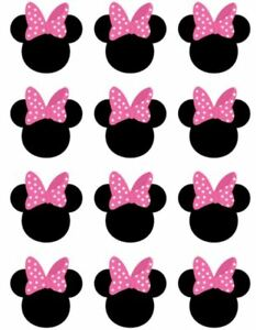 Disney Minnie Mouse Cupcake Toppers Edible Image Minnie Ears Cake Toppers Pink